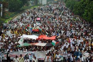 An anti-Israel rally in Jakarta.