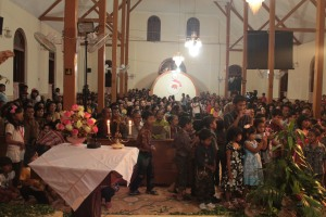 A holy mass in the Peniwen church, Malang, East Java.