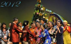 President Susilo Bambang Yudhoyono joining a 'Natal Bersama' (Joint Christmas) at the Jakarta Convention Center, in 2012.