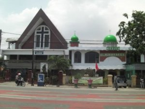 Church and mosque on Jalan Enggano, Tanjung Priok, North Jakarta