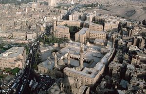 Aerial view of the Al-Azhar University in Cairo, Egypt.