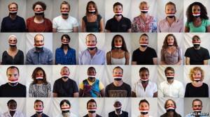 aljazeera protesting against journalists crackdown.the economist