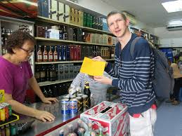 "Jonny Blair,a foreigner,  buying duty free beer in Labuan, Malaysia to take into Brunei. ""I got my yellow Brunei Customs Liquor Form while buying my alcohol in Labuan, Malaysia."""