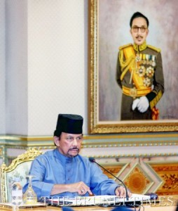 His Majesty the Sultan and Yang Di-Pertuan of Brunei Darussalam delivers his titah at the special closed-door meeting with members of the Brunei Islamic Religious Council (MUIB) at Istana Nurul Iman. Photo: BT/Saiful Omar
