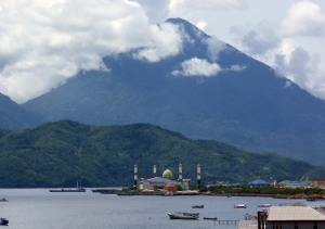 Ternate Mosque with Tidore Background.
