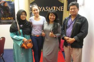 Two Indonesian tourists from Jakarta visited 'Yasmine' booth and posed with Liyana Yus and Siti Kamaluddin at the ASEAN Consumers Fair 2014 held in the Internatiobal Convention Centre, Berakas, last June.