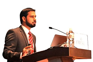 Mustafa Adil, presenting his keynote presentation titled The State of the Islamic Economy